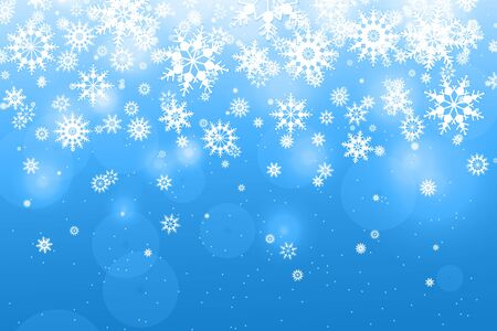 Light Blue Background with snowflakes. Falling white snowflakes. Snow background. Vector illustration.