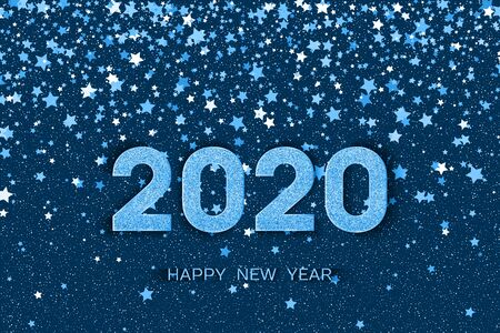 2020 Happy New Year. Blue numbers and stars on dark blue background. New Year 2020 greeting card. Vector illustration.