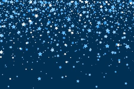 Falling stars on blue background. Stars Confetti. Christmas, New Year celebration holiday background. Vector Illustration.