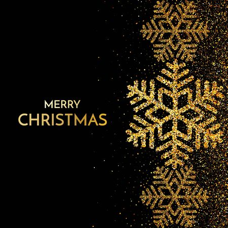 Merry Christmas greeting card. Gold snowflake and glitter on Dark background. Merry Christmas phrase. Vector Illustration.