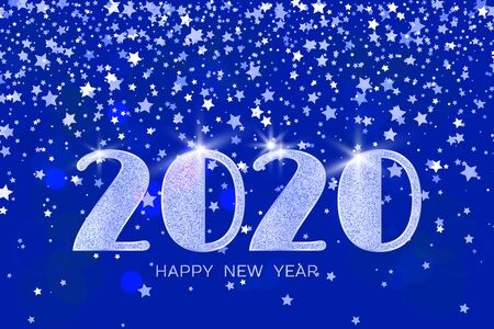 2020 Happy New Year. Blue numbers and stars on blue background. New Year 2020 greeting card. Vector illustration.