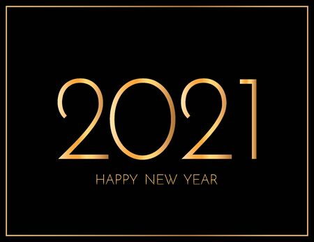 New Year 2021 greeting card. 2021 golden New Year sign on dark background. Illustration of happy new year 2021.
