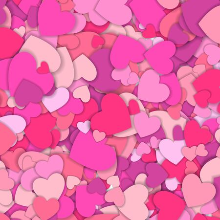 Valentine s day background with many red and pink hearts. Happy Valentine s Day. Symbol of love. Confetti hearts petals falling. Background of colorful hearts. Love concept.