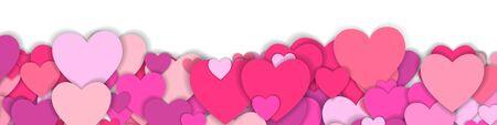 Valentine s day background with many red and pink hearts. Happy Valentine s Day. Symbol of love. Confetti hearts petals falling. Background of colorful hearts and place for your text. Love concept Stock Illustratie