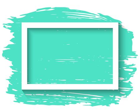 White frame and ink brush stroke on the white background. Vector illustration.