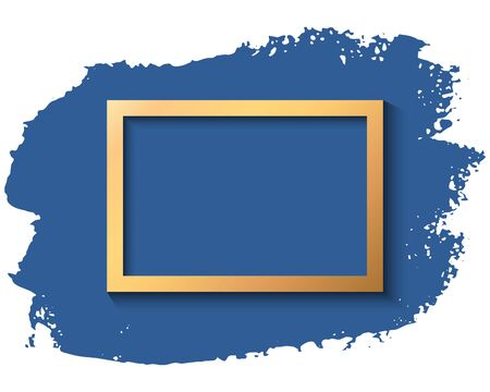 Gold frame and blue ink brush stroke on the white background. Vector illustration.
