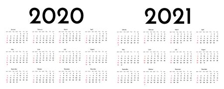 Calendar 2020 and 2021 template. Tradicional calendar. Calendar starts sunday. Vector illustration