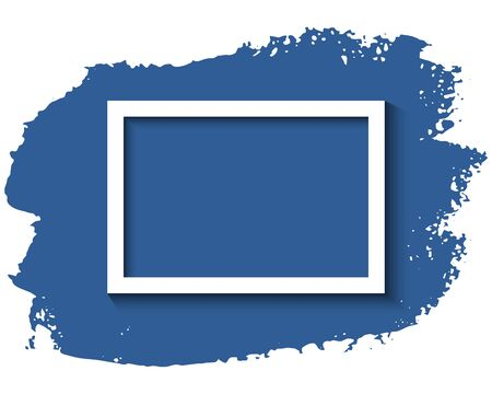 White frame and blue ink brush stroke on the white background. Vector illustration