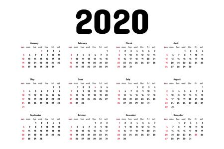 Calendar 2020 template. Tradicional calendar. Calendar starts sunday. Vector illustration. Stock Illustratie
