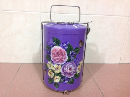 tiffin: Folk art painted on tiffin carrier Stock Photo