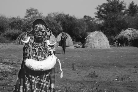 ethiopian: portrait of ethiopian mursi boy