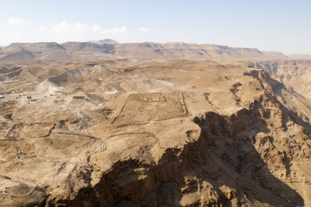 It can be seen the Roman legionary (X Fretensis) castra at Masada from the fortress.  photo