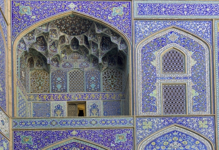 imam: Detail of Imam Mosque, is a mosque in Isfahan, Iran, standing in south side of Naghsh-i Jahan Square  Stock Photo