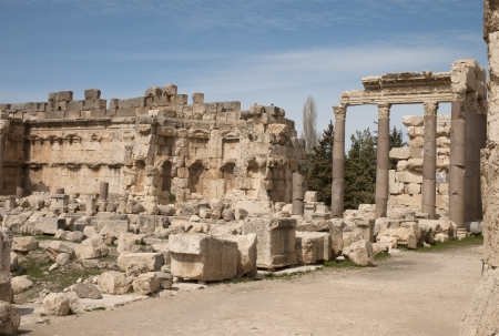 heliopolis: Ruins at the old roman city of Baalbek Stock Photo