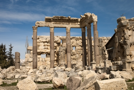 heliopolis: Ruins of a temple at the old roman city of Baalbek, Lebanon