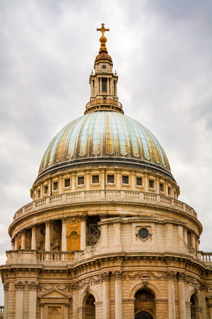 saint pauls cathedral: Dome of the Saint Pauls cathedral against a cloudy sky.