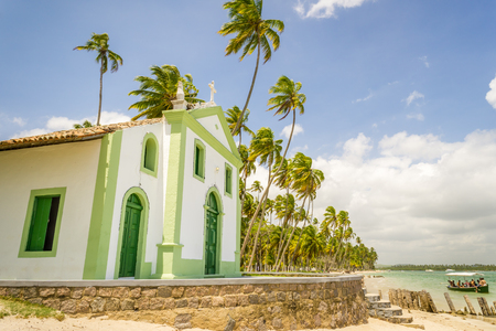 St. Benedict Church was built in the XVIII century and is located in the Carneiros beach. It is located in the state of pernambuco, Brazilin a former coconut farm.