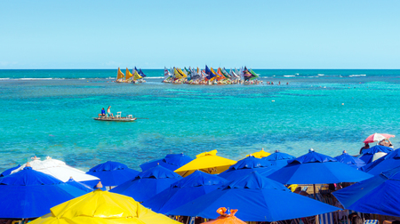 umbrela: Porto de Galinhas is one of the most beautiful beaches in the world. It is located in Recife, Pernambuco, Brazil. Stock Photo