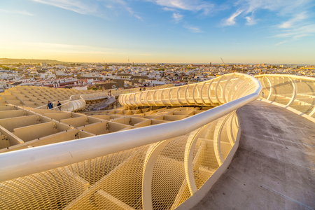 From the top of the Space Metropol Parasol (Setas de Sevilla) one have the best view of the city of Seville, Spain. It provides a unique view of the old city center and its traditional buildings. Editorial