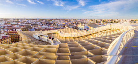 From the top of the Space Metropol Parasol (Setas de Sevilla) one have the best view of the city of Seville, Spain. It provides a unique view of the old city center and its traditional buildings. Editöryel