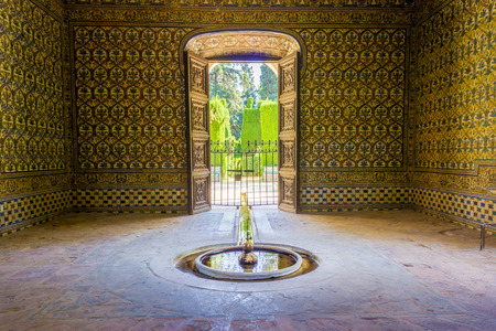 Shelter of the garden of the Alcazar of Seville. It is a royal palace originally developed by Moorish Muslim kings in Seville, Spain. Editorial