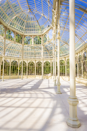 metal structure: The Crystal Palace (Palacio de Cristal) is located inside the Retiro park in Madrid, Spain. It is a metal structure used for expositions of contemporaneous art. Editorial