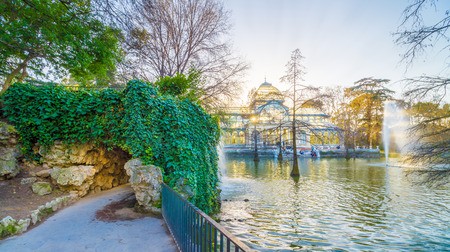 contemporaneous: The Crystal Palace (Palacio de Cristal) is located in the Retiro park in Madrid, Spain. It is a metal structure used for expositions of contemporaneous art. It is a touristic attraction of the city.