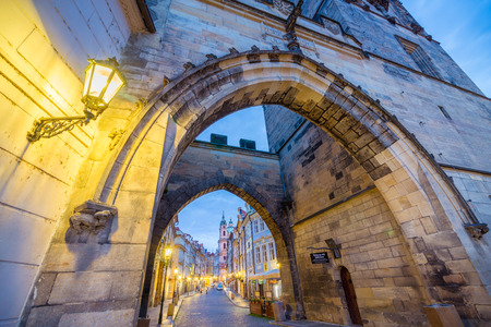 Little Quarter Bridge Tower is a beautiful gothic gateway. The gateway, the tower, along with Charles Bridge, were built by Emperor Charles IV in Prague, Czech Republic.