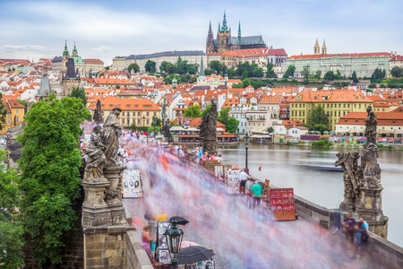 xv century: The Charles bridge is located in Prague, Czech Republic. Finished in the XV century, it crosses the Vltava river, leading the castle of Prague.