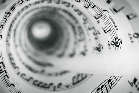 music score: Inside of a cone made of a music score sheet.