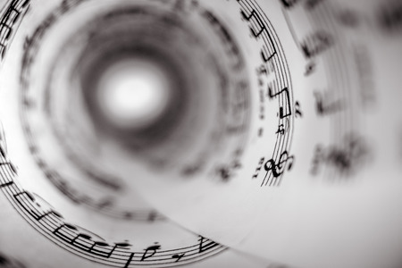 Inside of a cone made of a music score sheet.