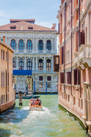 Transportaion in Venice, Italy, is done via boat through the many canals crossing the city. Editorial