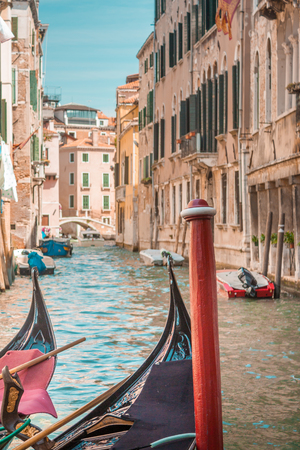 transportaion: Transportaion in Venice, Italy, is done via boat through the many canals crossing the city. Stock Photo