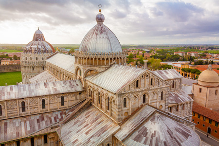 The Piazza dei Miracoli (Piazza del Duomo) is located in the city of Pisa, Toscany, Italy. This is the view from the famous leaning tower of Pisa, showing the cathedral and the baptistry.