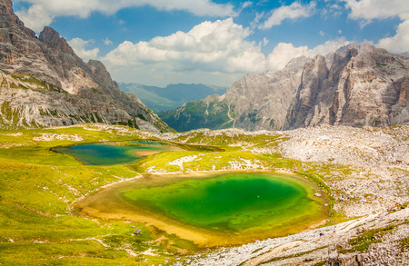 The Piani lakes are glacial lakes located in the Italian alps, close to the city of Cortina dApenzzo, Veneto. It is a touristic location due to its hiking trails.
