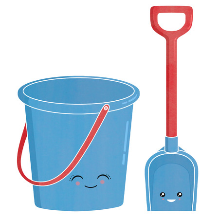 kawaii: Bucket and spade illustration kawaii style