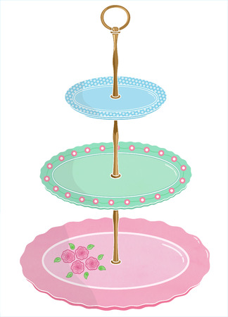 cake stand: Cake stand illustration for afternoon tea