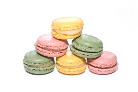 Stacked Macaroons on white background photo