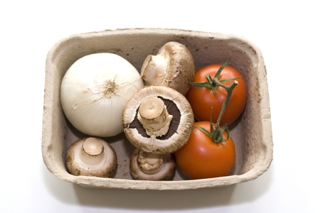 Tomatoes, Onion and Mushrooms in a box photo