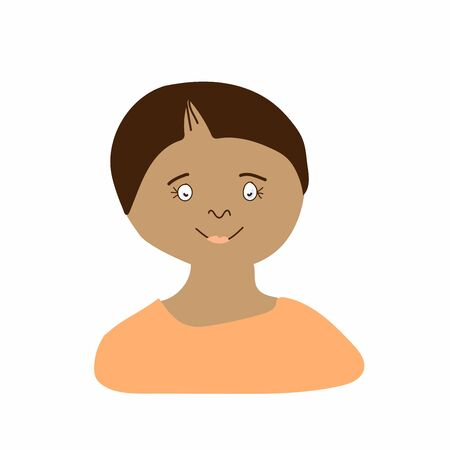 Vector portrait of a little boy in flat style. Illustration of a child of Indian race appearance by doodle.For child protection day.Design for packaging,web,children's games,cards,print.