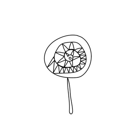 One simple terrible caramel on a stick for halloween.Scary illustration of hand drawn with a black line.Candy style doodle. Design for packaging, card, web, social networks, print, backgrounds.