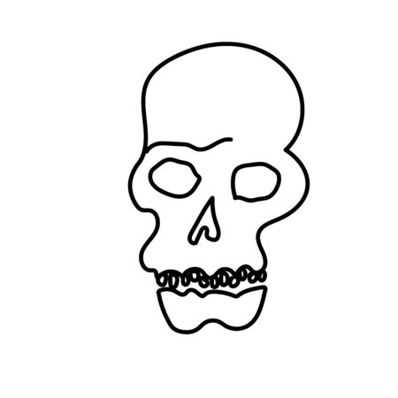 One simple terrible skull for halloween.Scary illustration bones of hand drawn with a black line doodle style.Design for packaging,card,web,social networks,print,backgrounds,coloring. Vectores