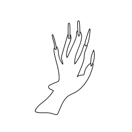 One simple terrible hand of the witch for halloween.Scary illustration insect of hand drawn with a black line doodle style.Design for packaging,card,web,social networks,print,backgrounds,coloring. Иллюстрация