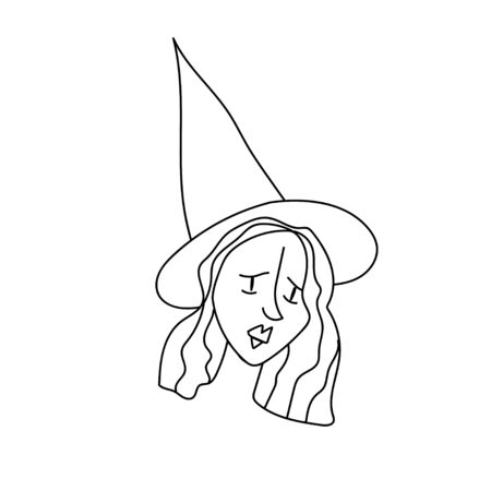 One simple terrible witch for halloween.Scary illustration of hand drawn with a black line doodle style.Design for packaging,card,web,social networks,print,backgrounds,coloring.