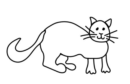Simple and cute cat hand drawn black line. Animated doodle style illustration. One pet on a white background. Design for packaging, web, social networks, coloring, card.