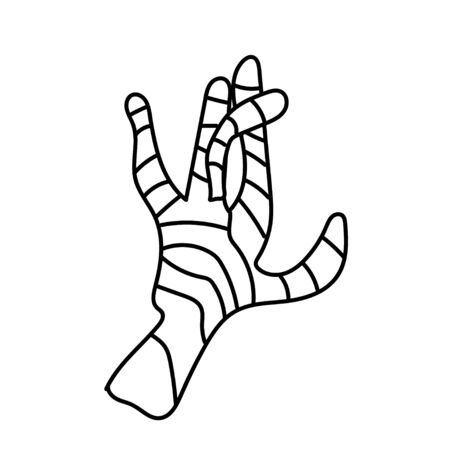 One simple mummy hand for halloween.Scary illustration of hand drawn with a black line. Spiteful doodle style. Design for packaging, card, web, social networks, print, backgrounds.