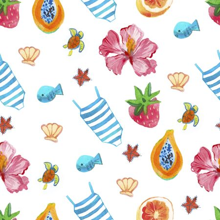 Watercolor eamless pattern with swimsuit,grapefruit,strawberry,shell, fish,turtle,hat,hibiscus,papaya,strawberry,sea star.Summer print for wrapping paper,wallpaper,textiles, packaging.