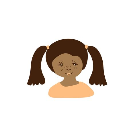 Vector portrait of a little girl in flat style. Illustration of a child of Indian race appearance by doodle.For child protection day.Design for coloring,packaging,web,children's games,cards,print.