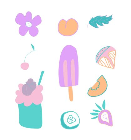Set of cute ice cream, strawberry and orange slices.Clip art food illustrations in flat style in blue, pink and lilac shades.Design for menus,posters,web,social networks,textiles,banner.
