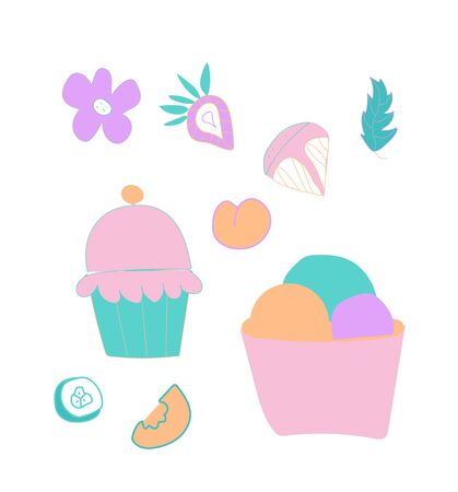 Vector set  of cute ice cream, strawberry and orange. Clip art food illustrations in flat style in blue, pink and lilac shades.Design for menus,posters,web,social networks,banner. Illustration